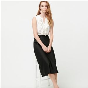 J Crew Ruffle-front Blouse in Satin Crepe NWT